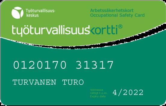 Pildil on Soome tööohutuskaart ehk roheline kaart